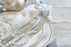 Silver and cream Christmas Table Setting royalty free stock photo
