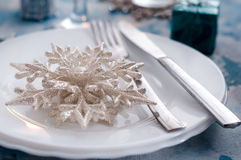 Silver and cream Christmas Table Setting with decorations Stock Photography