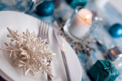 Silver and cream Christmas Table Setting with decorations Royalty Free Stock Images