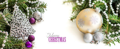 Silver,cream and purple Christmas ornaments Stock Images