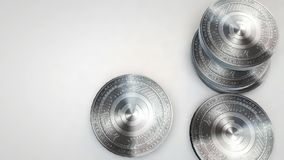 Silver creativecoin coins falling on white background. Animation stock footage