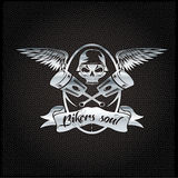 Silver crest with skull,wings and pistons. Bikers soul silver crest with skull,wings and pistons Royalty Free Stock Photo