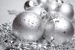 Silver cristmas balls Royalty Free Stock Photos