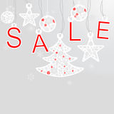 Silver cristmas balls and fir tree with sale. On silver background Royalty Free Stock Photo
