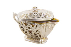 Silver crockery Stock Images