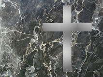 Silver cross and black marble Royalty Free Stock Photos