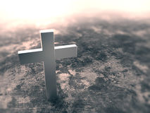 Silver cross on grunge background with clipping path Stock Image