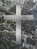 Silver cross inlay with black marble Royalty Free Stock Photo