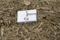 A silver cross necklace sitting in some hay. A silver cross necklace set against a white gift box sitting in some hay stock photography