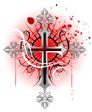Silver cross on a white background. Jeweler, Gothic cross from silver, on the white background, soiled with red paint vector illustration