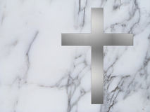 Silver cross and white marble Royalty Free Stock Photos
