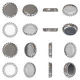Silver crown cap. Isolated silver metallic crown cap viewed from in different angles Stock Photography