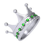 Silver crown decorated with green sapphires Stock Photography
