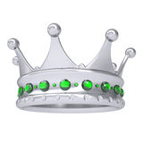 Silver crown decorated with green sapphires Royalty Free Stock Images