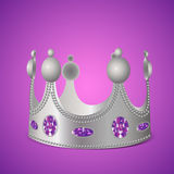 Silver crown with gems. On purple background in photo realistic style - Vector illustration royalty free illustration