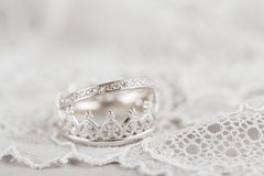 Silver crown wedding rings Royalty Free Stock Images