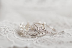 Silver crown wedding rings Stock Photo