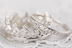 Silver crown wedding rings Royalty Free Stock Image