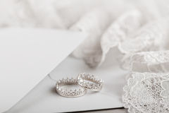 Silver crown wedding rings Stock Photography