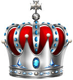 Silver crown on white Stock Images