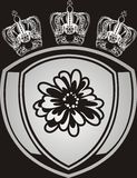 Silver crowns and emblem. Illustration Royalty Free Stock Photography
