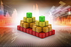 Silver cube with some colorful elements. Composite silver cube with some colorful elements Stock Photo