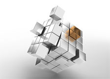 Silver cubes with one gold Royalty Free Stock Photo