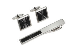 Silver cuff link and tie pin Royalty Free Stock Photos