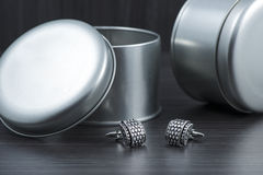 Silver cuff links Royalty Free Stock Photography