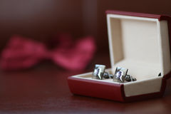 Silver cuff links in the box Stock Photo