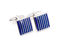 Silver cuff links. On the white stock photo