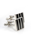 Silver cuff links on white background Stock Photo