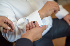 Silver cufflinks Royalty Free Stock Photo