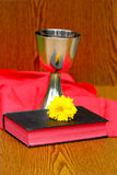 Silver cup,with Bible on red background Royalty Free Stock Images
