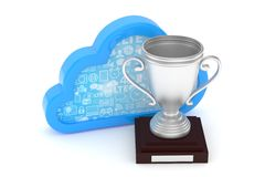 Silver cup with cloud. 3D rendering. Isoalted silver cup with cloud on white background. Blue contour cloud. Concept of cloud storage competition. Leader cloud Royalty Free Stock Photo