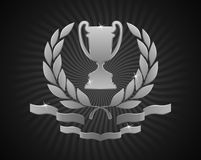 Silver Cup Emblem. Silver goblet framed with laurel wreath and decorated bottom ribbons Stock Photos