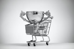 Silver Cup in food cart. On a light background stock image