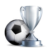 Silver cup with a football ball stock illustration