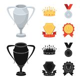 A silver cup, a gold crown with diamonds, a medal of the laureate, a gold sign with a red ribbon.Awards and trophies set. Collection icons in cartoon,black Royalty Free Stock Image