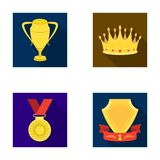 A silver cup, a gold crown with diamonds, a medal of the laureate, a gold sign with a red ribbon.Awards and trophies set Stock Photo