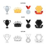 A silver cup, a gold crown with diamonds, a medal of the laureate, a gold sign with a red ribbon.Awards and trophies set. Collection icons in cartoon,black Royalty Free Stock Photography