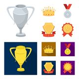 A silver cup, a gold crown with diamonds, a medal of the laureate, a gold sign with a red ribbon.Awards and trophies set. Collection icons in cartoon,flat style Stock Photos