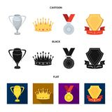 A silver cup, a gold crown with diamonds, a medal of the laureate, a gold sign with a red ribbon.Awards and trophies set. Collection icons in cartoon,black,flat Stock Photos