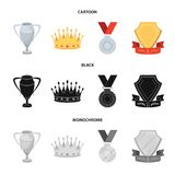 A silver cup, a gold crown with diamonds, a medal of the laureate, a gold sign with a red ribbon.Awards and trophies set. Collection icons in cartoon,black Royalty Free Stock Photos