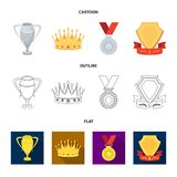 A silver cup, a gold crown with diamonds, a medal of the laureate, a gold sign with a red ribbon.Awards and trophies set. Collection icons in cartoon,outline Royalty Free Stock Photos