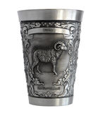 Silver cup with a picture of an Aries zodiac Royalty Free Stock Image