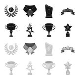 Silver cup for the second place, gold stars on the stand, a cup with a star, a gold cup.Awards and trophies set. Collection icons in black,monochrome style Royalty Free Stock Photography