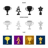 Silver cup for the second place, gold stars on the stand, a cup with a star, a gold cup.Awards and trophies set. Collection icons in black, flat, monochrome Stock Photo