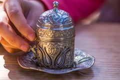 Silver cup for turkish coffee stock photo