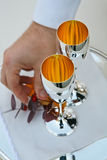Silver cups. A couple of silver wedding cups Stock Image